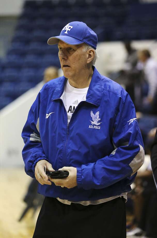 FILE PHOTO: San Antonio Spurs Head Coach Gregg Popovich sports Air Force swag at the United State Air Force Academy in 2013.  Photo: San Antonio Express-News