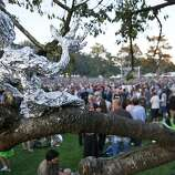 An aluminum foil sculpture is seen in a tree as the crowd listens to Bonnie Raitt at the Hardly Strictly Bluegrass Festival Golden Gate Park, in San Francisco, Ca, on Friday Oct. 4, 2013
