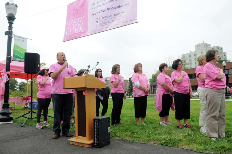 "Breast cancer survivors and supporters to kick off Stamford Hospital's annual ""Paint the Town Pink"" campaign at Mill River Park in Stamford, Conn., October 5, 2013. The campaign, in its ninth year, is aimed at raising awareness and stressing the importance of early detection. Photo: Keelin Daly / Stamford Advocate Freelance"
