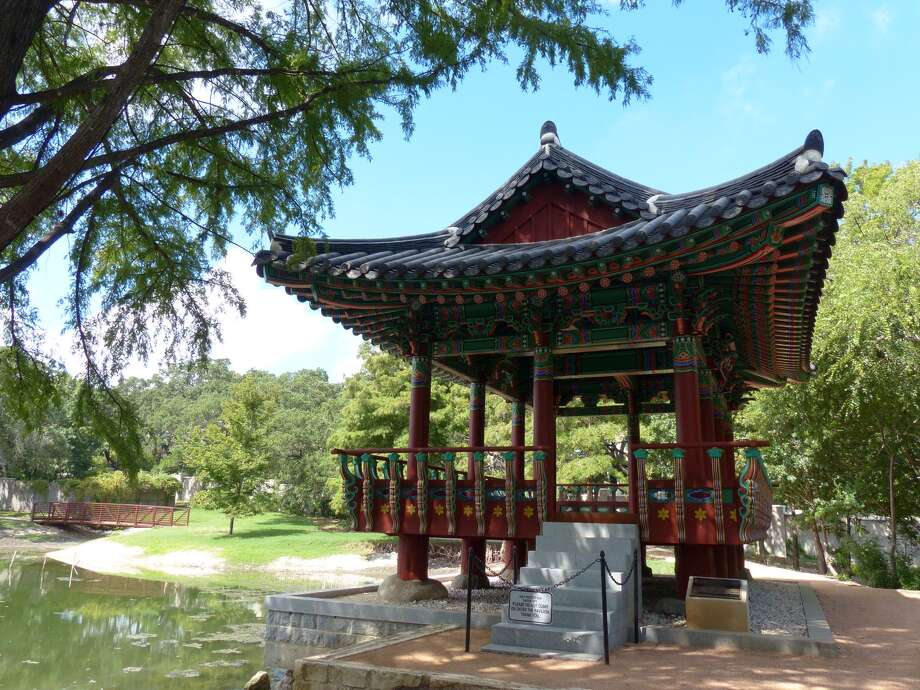 "The Korean pavilion, a 2010 ""sister city"" gift from San Antonio's  South Korean sister city of GwangJu, graces the Denman Estate Park on Tuesday, Oct. 1, 2013. Photo: Billy Calzada, San Antonio Express-News / San Antonio Express-News"