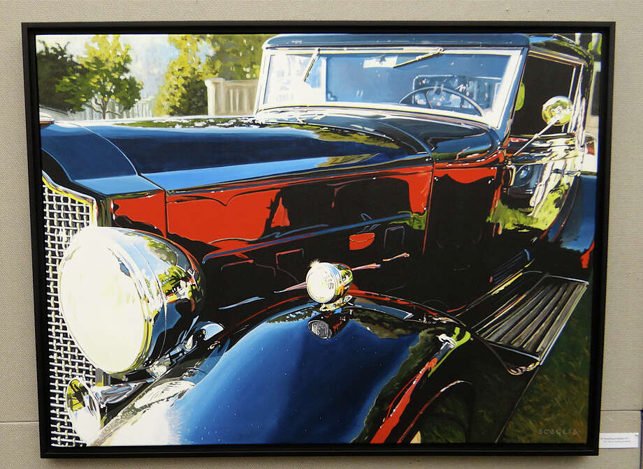 """Dreaming in Italian,"" an acrylic painting by Ken Scaglia featured at Westport Library's new exhibit of his work, ""Art of the Automobile."" Photo: Mike Lauterborn / Westport News contributed"