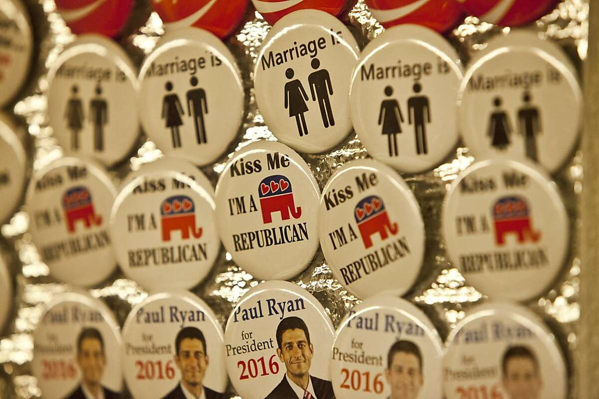 GOP05/06 Various right wing and republican buttons sold at the convention. California Republican Party convention at the Anaheim Hilton.