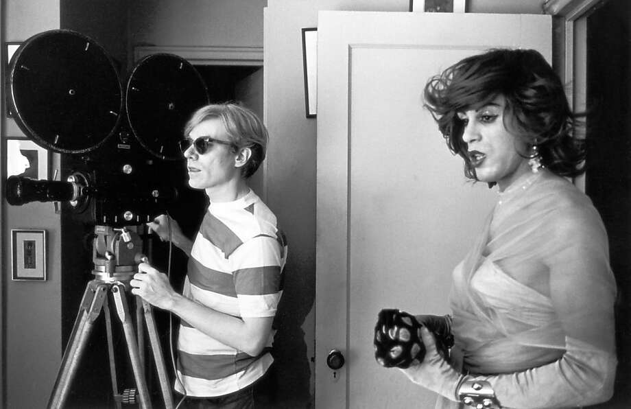 "Mario Montez (right), who starred in many films by Andy Warhol, works with him on the set of ""The Chelsea Girls."" Photo: Pbs"