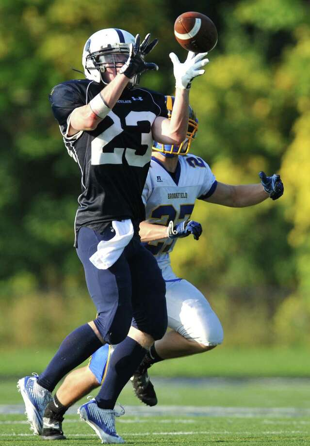 Immaculate's Michael Woods makes a catch in the SWC high school football game between Immaculate and Brookfield at Immaculate High School in Danbury, Conn. on Saturday, Oct. 5, 2013. Photo: Tyler Sizemore / The News-Times