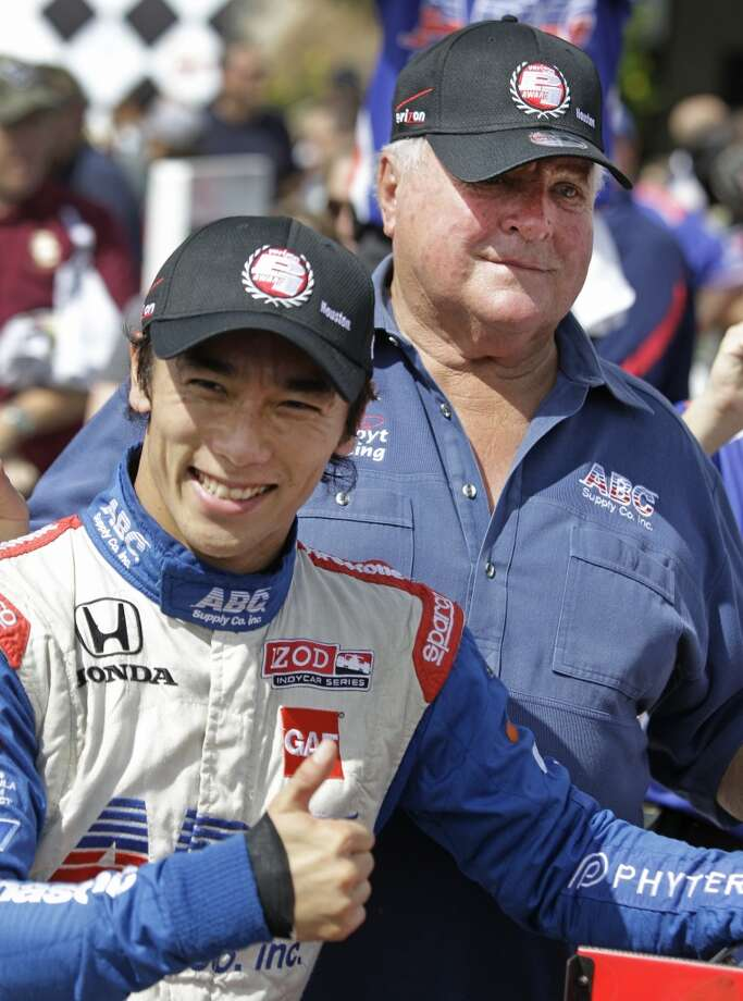 IndyCar driver Takuma Sato celebrates after winning the pole at the Grand Prix of Houston. Photo: Melissa Phillip, Houston Chronicle