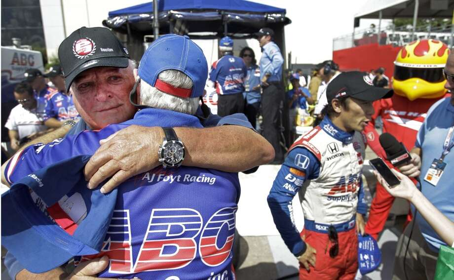 A.J. Foyt celebrates Takuma Sato's preliminary win Saturday. Photo: Melissa Phillip, Houston Chronicle