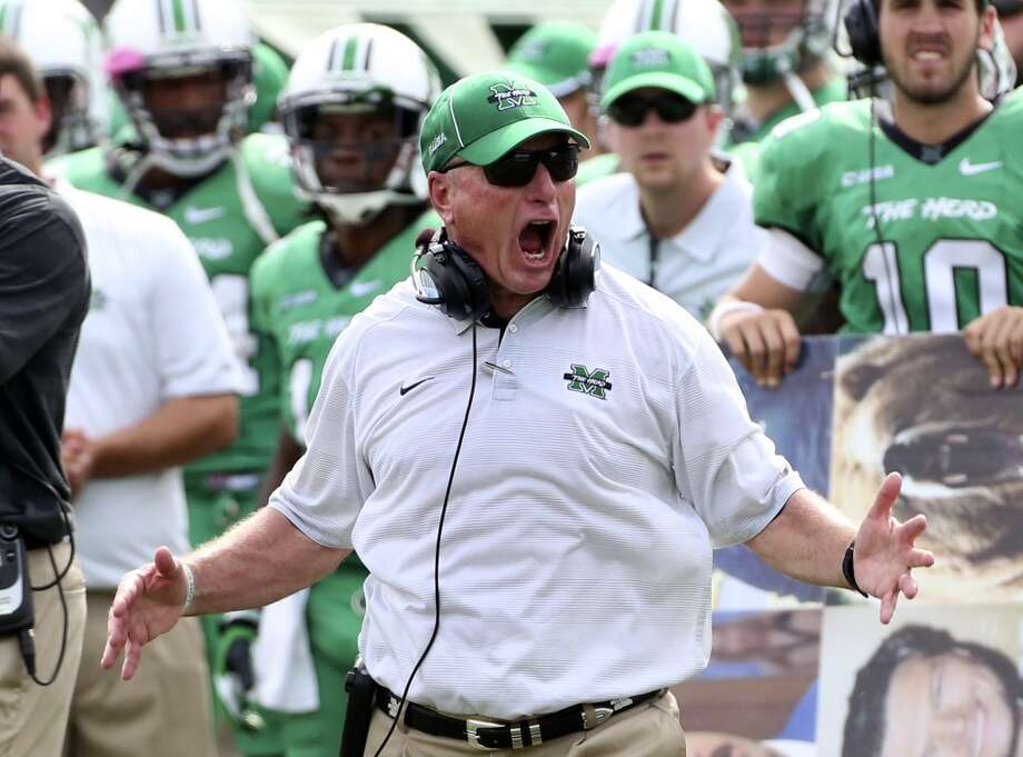 Marshall head coach Doc Holliday reacts to a call by officials during an NCAA college football game against UTSA at Joan C. Edwards Stadium, Saturday, Oct. 5, 2013, in Huntington, W.Va. Photo: Marcus Constantino, The Herald-Dispatch