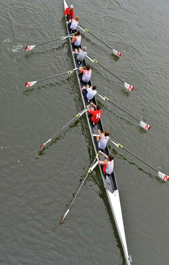 A Niskayuna boys eight finishes a three-mile head race at the annual Head of the Mohawk Regatta at the Aqueduct Rowing Club Saturday, Oct. 5, 2013, in Niskayuna, NY.  (John Carl D'Annibale / Times Union) Photo: John Carl D'Annibale / 00024036A