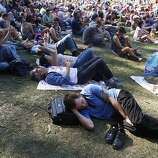 A concert-goer relaxes during the Bettye LaVette set at the Hardly Strictly Bluegrass Festival in Golden Gate Park, in San Francisco, Ca, on Saturday, Oct. 5, 2013.
