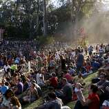 The crowd is seen in the late afternoon light at the Rooster Stage at the Hardly Strictly Bluegrass Festival in Golden Gate Park, in San Francisco, Ca, on Saturday, Oct. 5, 2013.