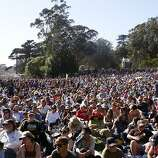 The crowd listens to Emmylou Harris perform during the Holler Down The Hollow set at the Hardly Strictly Bluegrass Festival in Golden Gate Park, in San Francisco, Ca, on Saturday, Oct. 5, 2013.