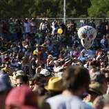 A skull balloon is seen above the crowd at the Hardly Strictly Bluegrass Festival in Golden Gate Park, in San Francisco, Ca, on Saturday, Oct. 5, 2013.