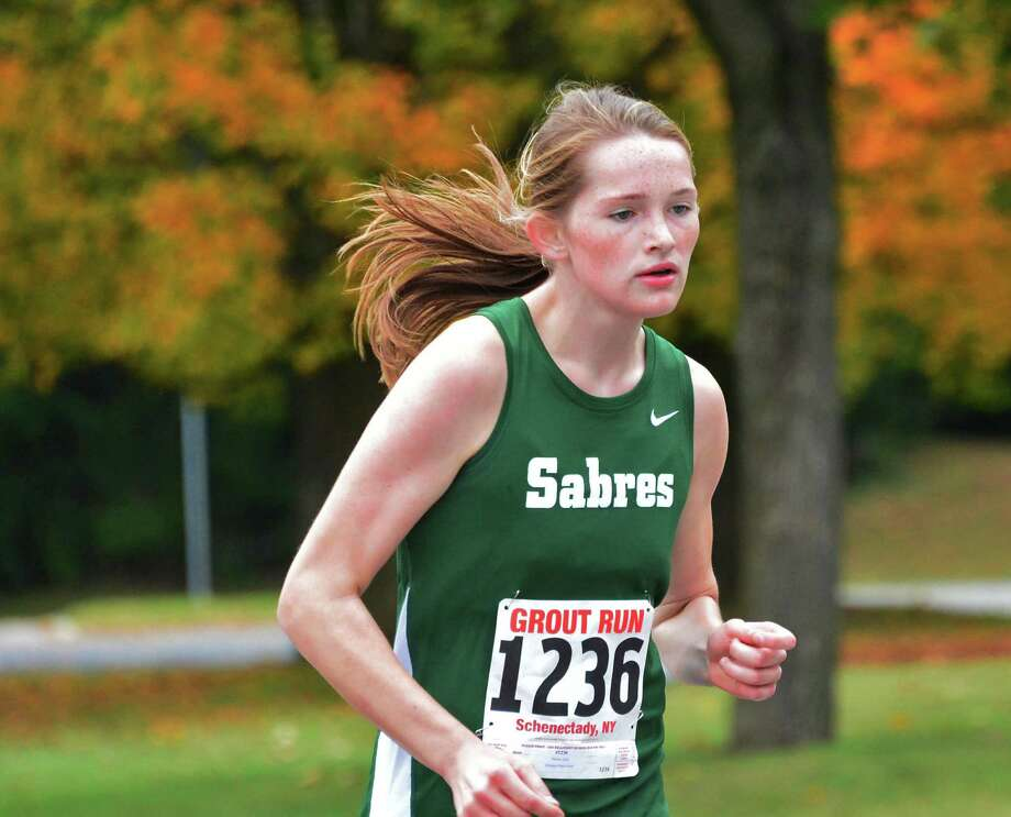 Schalmont's Julia Flower on her way to a win in the Girls Class C race at the annual Grout Run cross country meet in Central Park Saturday Oct. 5, 2013, in Schenectady, NY.  (John Carl D'Annibale / Times Union) Photo: John Carl D'Annibale / 00024111A