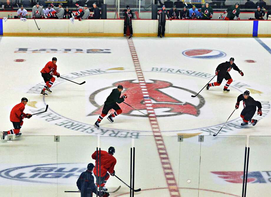 The Albany Devils practice  Thursday Oct. 3, 2013, at the Times Union Center in Albany, N.Y. (John Carl D'Annibale / Times Union) Photo: John Carl D'Annibale / 00024096A