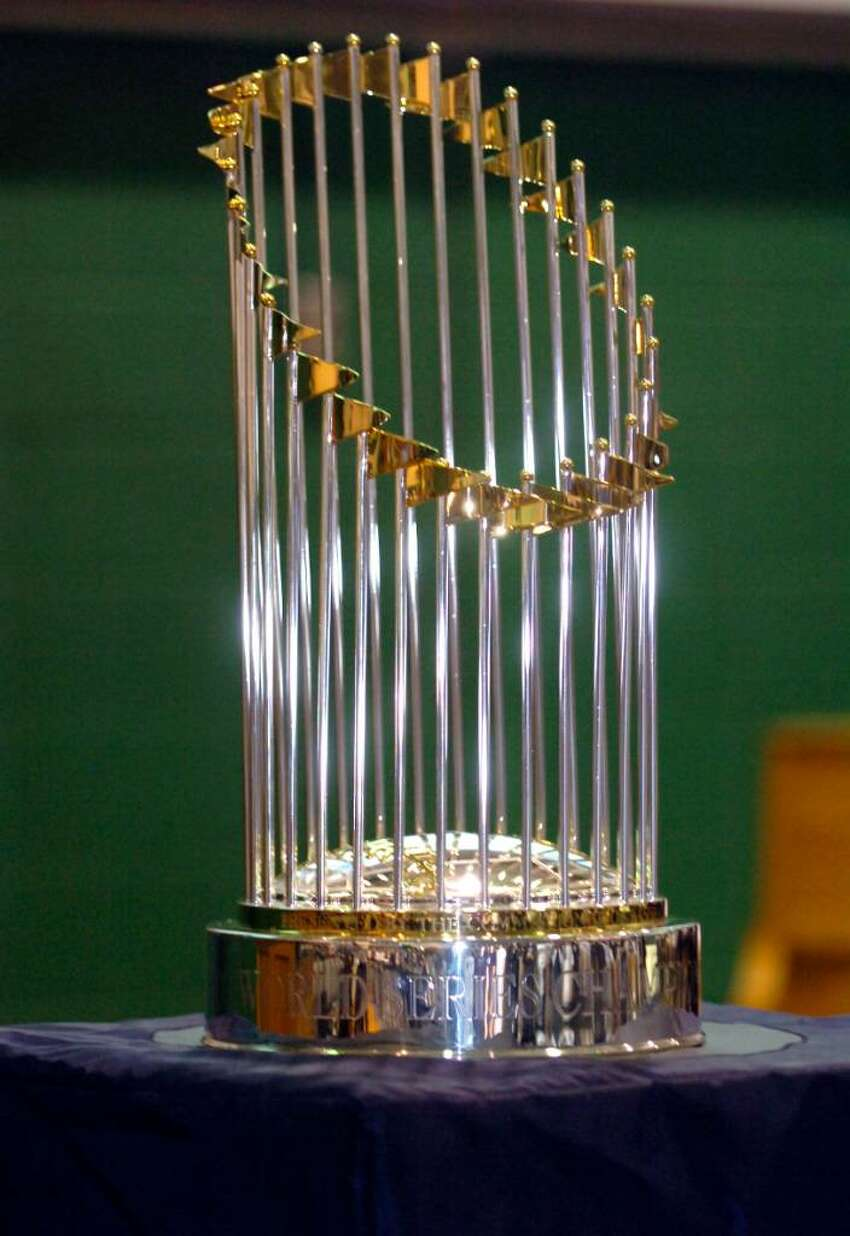 .The New York Yankees' 2009 World Series trophy on display at the Convent of the Sacred Heart during their celebration of the Yankees championship, on January 26, 2010