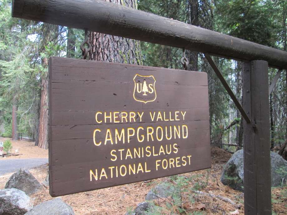 Entrance sign to Cherry Valley Campground, 25 miles into the fire interior Photo: Tom Stienstra/The Chronicle