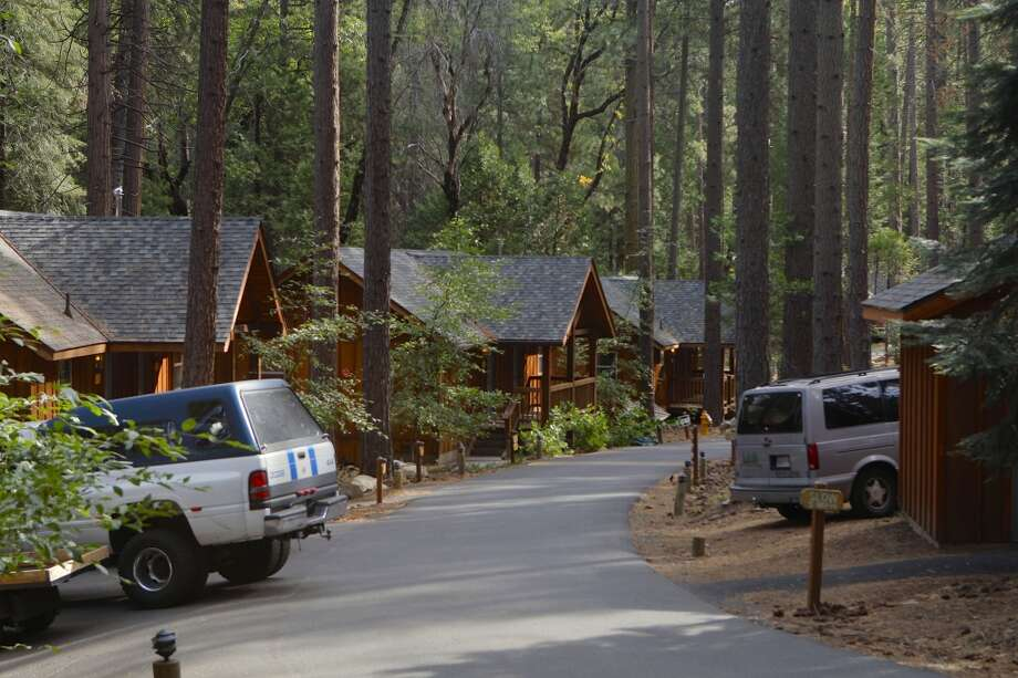 The beautiful cabins at Evergreen Lodge protected by fire crews Photo: Tom Stienstra/The Chronicle