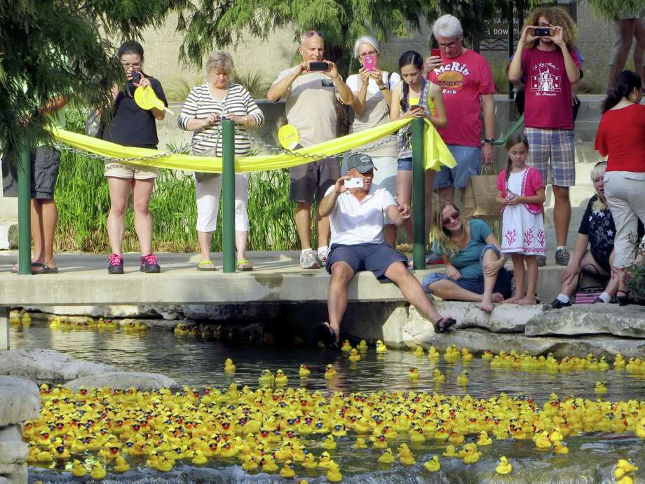 People get their cameras ready as some of the thousands of plastic ducks in the Lucky Duck Race float by in the San Antonio River. Photo: Zeke MacCormack / San Antonio Express-News