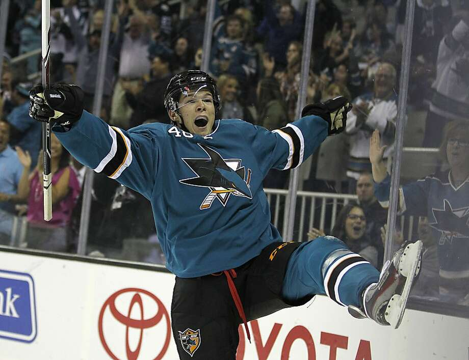 Sharks rookie Tomas Hertl celebrates a first-period score in San Jose. Photo: Tony Avelar, Associated Press