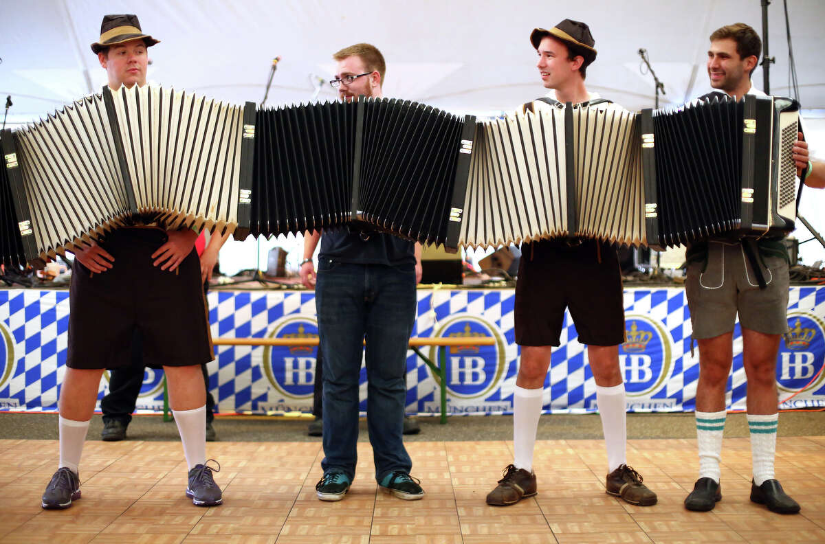 Members of the band S-Bahn play their uber accordion during the first weekend of the annual Leavenworth Oktoberfest celebration.
