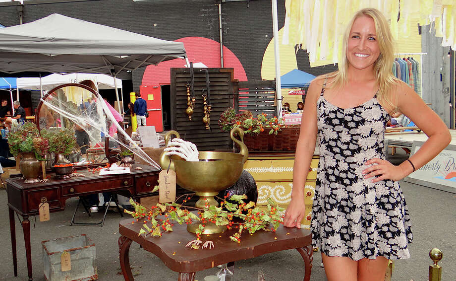 Katey Waddington, of Bank & Pearl, at the PopShop Market on Saturday on the grounds of the Fairfield Theatre Company. Photo: Mike Lauterborn / Fairfield Citizen contributed