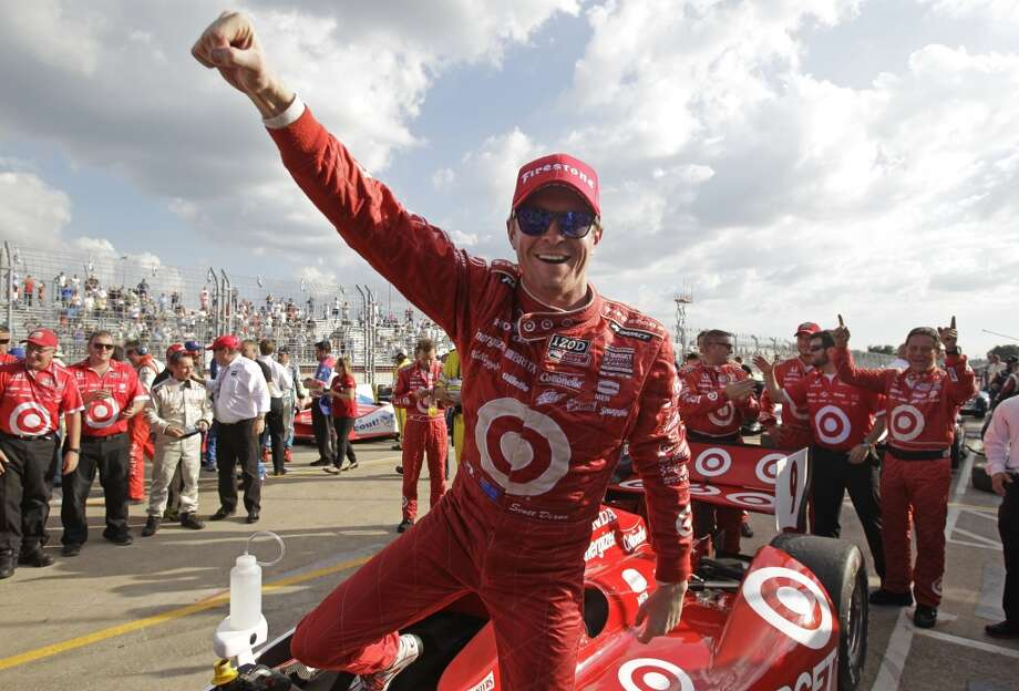 Race 1 Scott Dixon celebrates after winning Race 1 of the Shell and Pennzoil Grand Prix of Houston at Reliant Park on Saturday. Photo: Melissa Phillip, Houston Chronicle