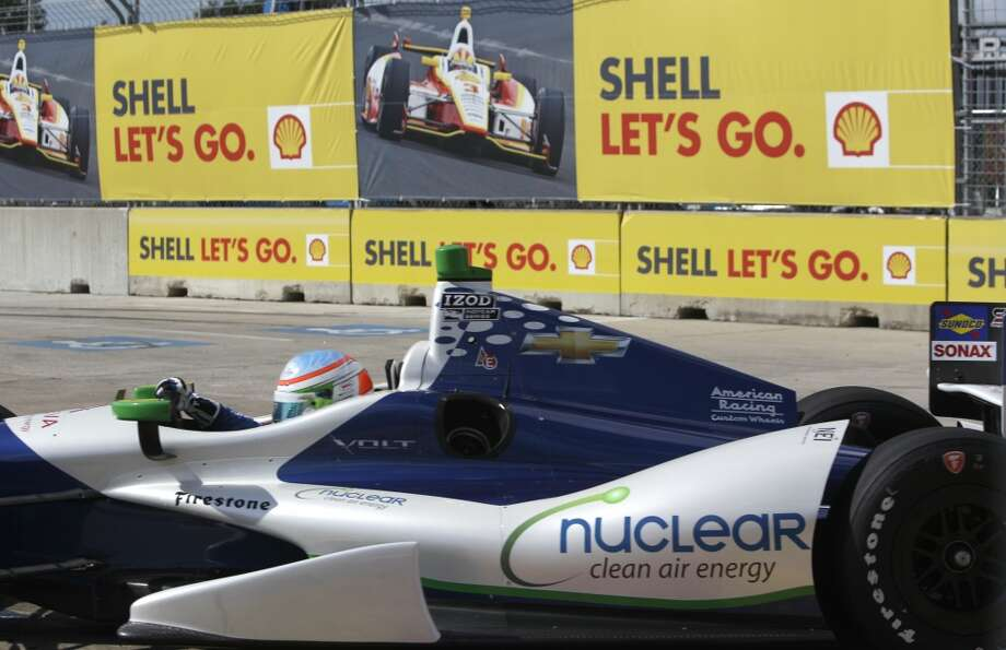 Simona De Silvestro takes Turn 6 during Race 1 of the Shell and Pennzoil Grand Prix of Houston at Reliant Park. She placed second in the race. Photo: Melissa Phillip, Houston Chronicle