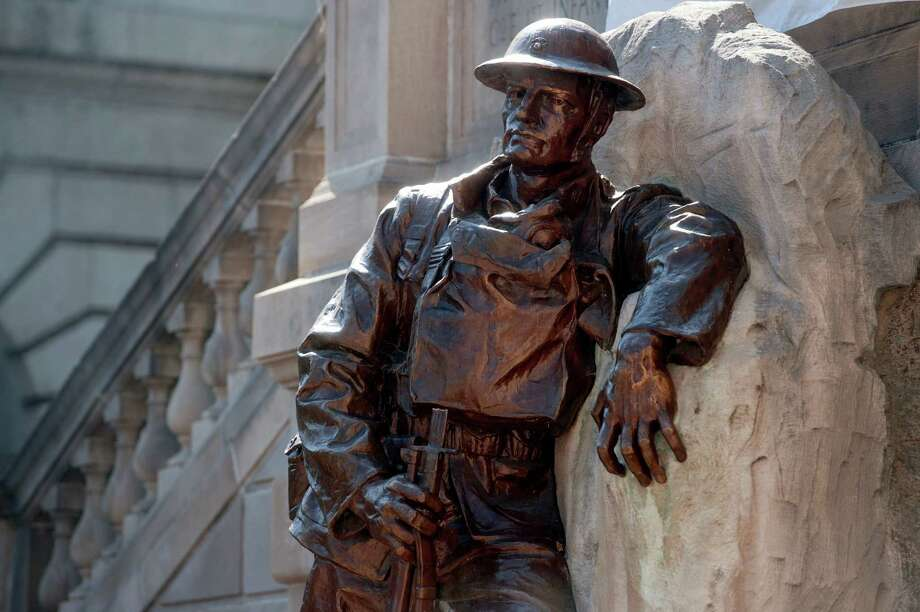 The doughboy statue is displayed at Monument Terrace in Lynchburg, Va., Friday Oct. 4, 2013. Officials are appealing for the return of a bayonet snapped from a World War I memorial. Photo: AP