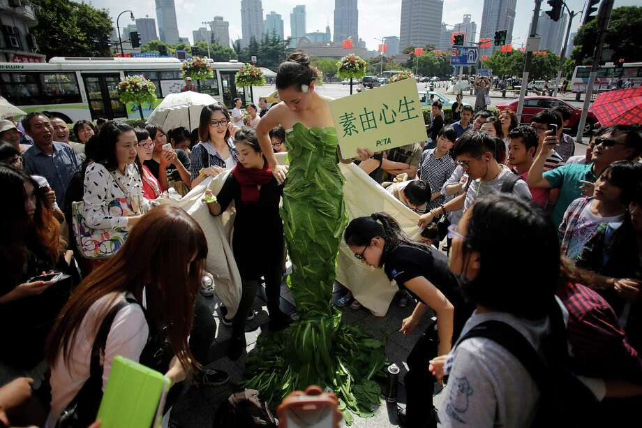 "A member of People for the Ethical Treatment of Animals (PETA) poses in a gown made of lettuce leaves and holds a sign that reads, ""Let Vegetarianism Grow on You"" in Chinese during an event on a busy shopping street in Shanghai, China, Friday, Oct. 4, 2013. According to the organizers, PETA is asking residents to celebrate the Golden Week of National Day (October 1) by adopting a healthy, kind, and Earth-friendly vegan diet. Photo: AP"