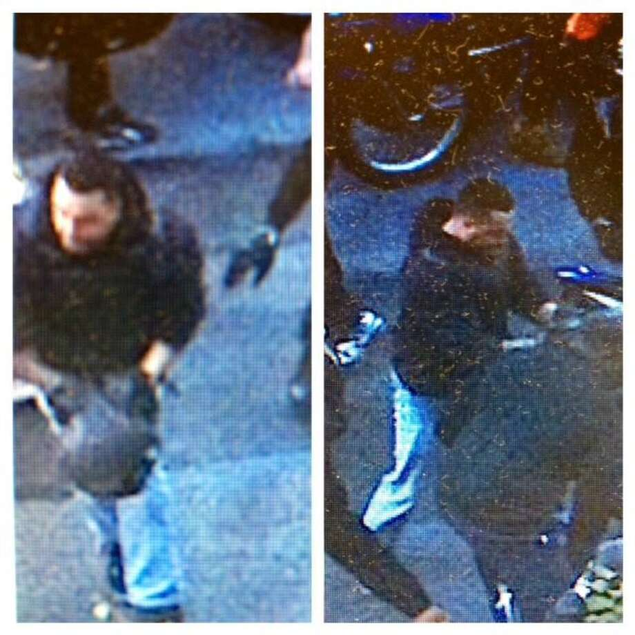This combination of undated images released by the the New York City Police Department shows a man wanted for questioning in regards to an assault on Sept. 29, 2013 where dozens of bikers stopped a Range Rover SUV on a highway, attacked the vehicle, then chased the driver and pulled him from the car after he plowed over a motorcyclist while trying to escape. Photo: AP