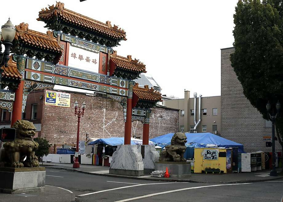 Portland, Ore., city officials are mulling whether to move the Right 2 Dream Too homeless camp from the city's Chinatown to the revitalized Pearl District. Photo: Don Ryan, Associated Press