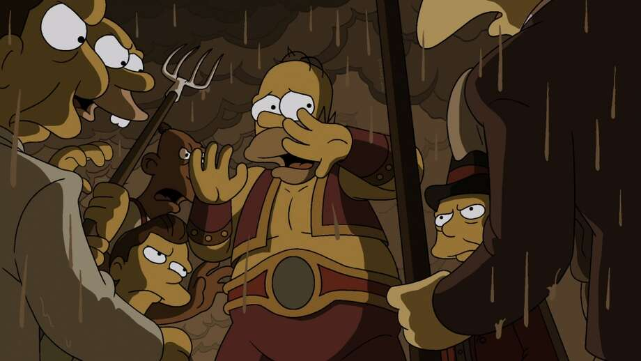 "THE SIMPSONS: In ""Freaks no Geeks,"" strongman Homer's plan for becoming the star of a 1930s traveling circus goes terrifyingly awry in the all-new 'Treehouse of Horror XXIV' episode of THE SIMPSONS airing Sunday night. Photo: CR: FOX"