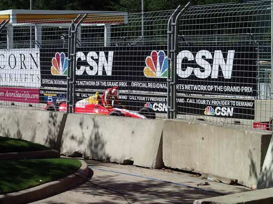 The crash site on the final lap of the IndyCar Grand Prix of Houston race on Sunday at Reliant Park. Photo: Photo Courtesy Of Bobby Nix