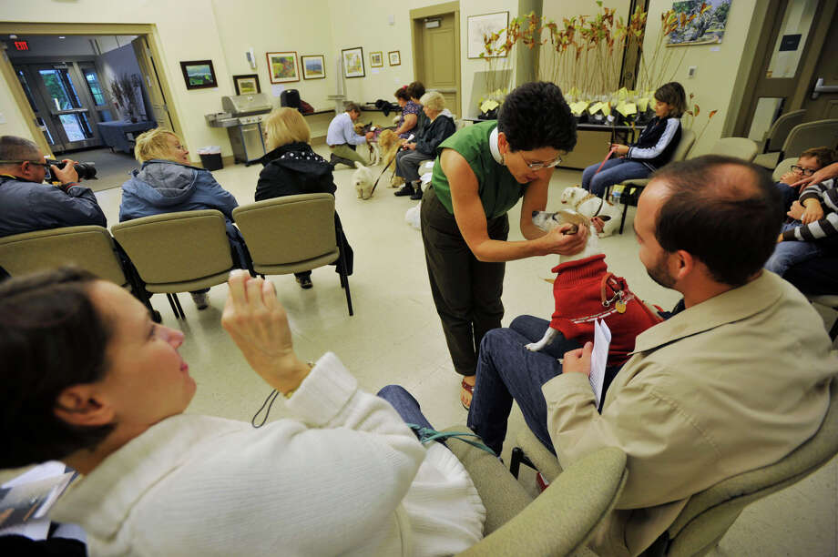 Chris Rice, right, looks on as his wife, Jen, photographs Rev. Kate Heichler blessing their dog, Penny, during the Blessing of Animals ceremony at the Bartlett Arboretum and Gardens in Stamford, Conn. on Sunday, Oct. 6, 2013. Photo: Jason Rearick / Stamford Advocate