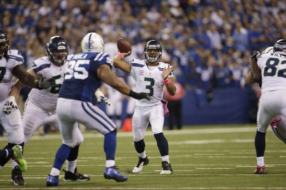 Seattle Seahawks quarterback Russell Wilson throws against the Indianapolis Colts during the second half of an NFL football game in Indianapolis, Sunday, Oct. 6, 2013. (AP Photo/AJ Mast) Photo: AJ Mast, AP