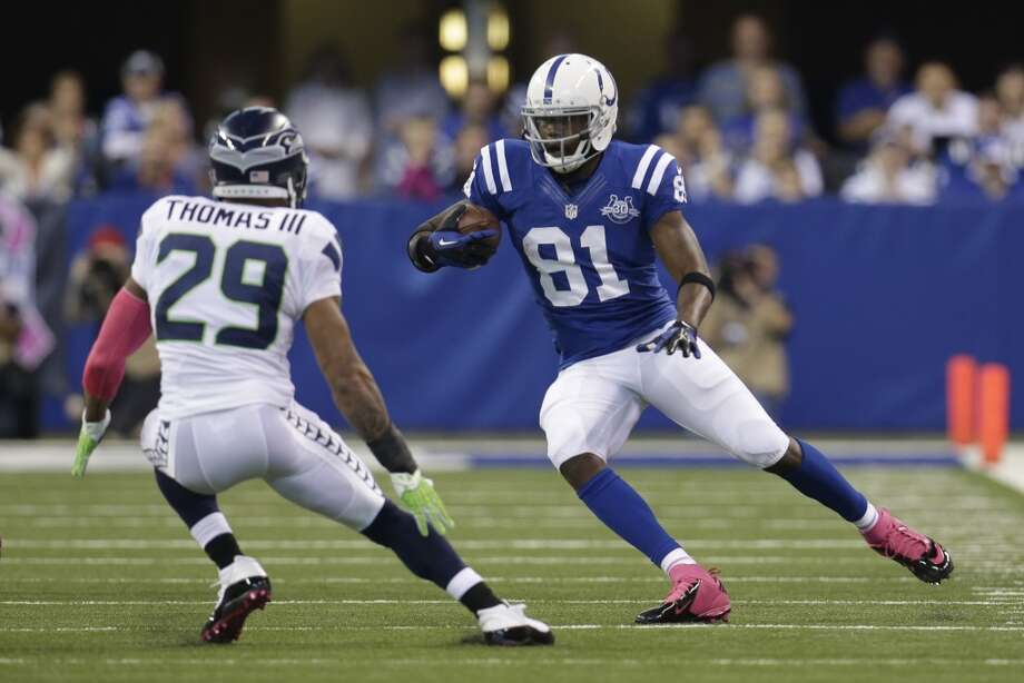 Indianapolis Colts wide receiver Darrius Heyward-Bey, right, cuts in front of Seattle Seahawks free safety Earl Thomas during the first half of an NFL football game in Indianapolis, Sunday, Oct. 6, 2013. (AP Photo/AJ Mast) Photo: AJ Mast, AP