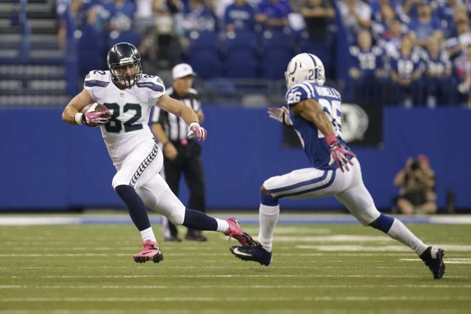 Seattle Seahawks tight end Luke Willson, left, is chased down by Indianapolis Colts free safety Delano Howell during the first half of an NFL football game in Indianapolis, Sunday, Oct. 6, 2013. (AP Photo/AJ Mast) Photo: AJ Mast, AP