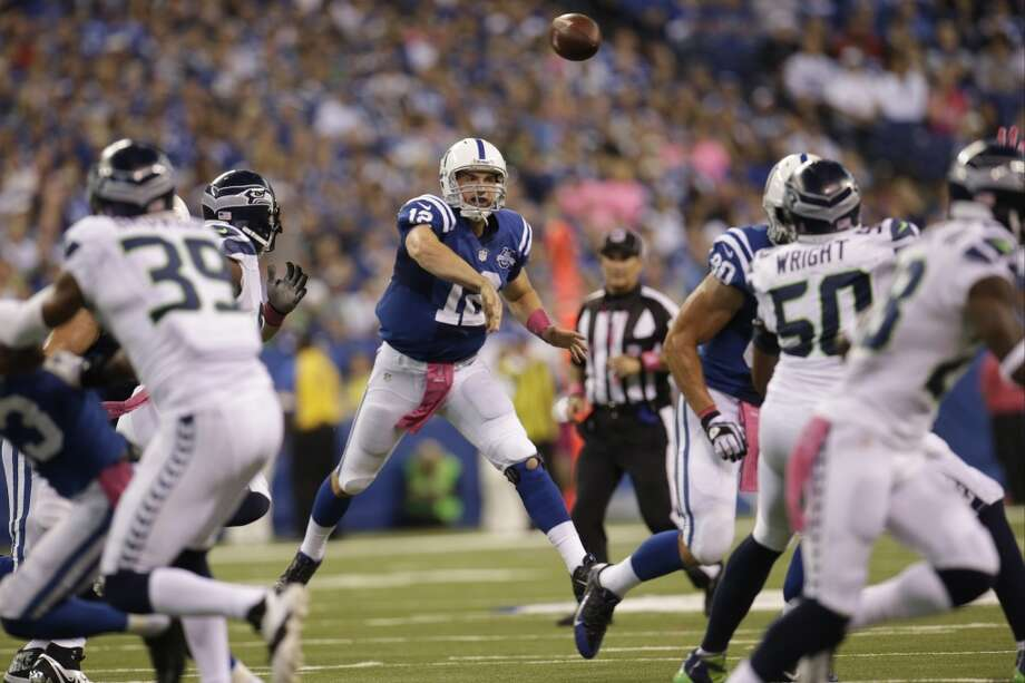 Indianapolis Colts quarterback Andrew Luck throws against the Seattle Seahawks during the second half of an NFL football game in Indianapolis, Sunday, Oct. 6, 2013. (AP Photo/AJ Mast) Photo: AJ Mast, AP
