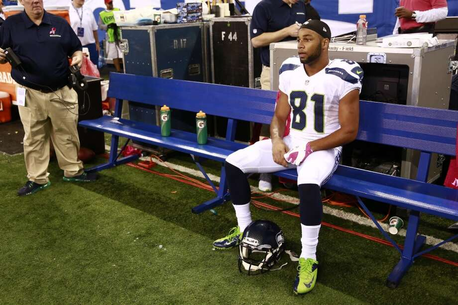 Seattle Seahawks wide receiver Golden Tate sits on the bench during the second half of an NFL football game against the Indianapolis Colts in Indianapolis, Sunday, Oct. 6, 2013.  The Colts defeated the Seahawks 34-28. (AP Photo/Brent R. Smith) Photo: Brent R. Smith, AP