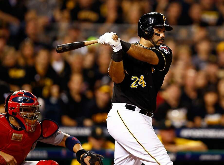 Pedro Alvarez connects for a tie-breaking single in the eighth inning of the Pirates' victory. Photo: Justin K. Aller, Getty Images