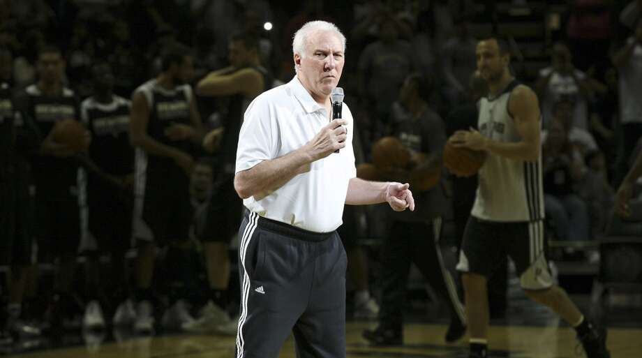 Spurs head coach Gregg Popovich speaks before an open scrimmage held Sunday Oct. 6 2013 at the AT&T Center. Photo: San Antonio Express-News