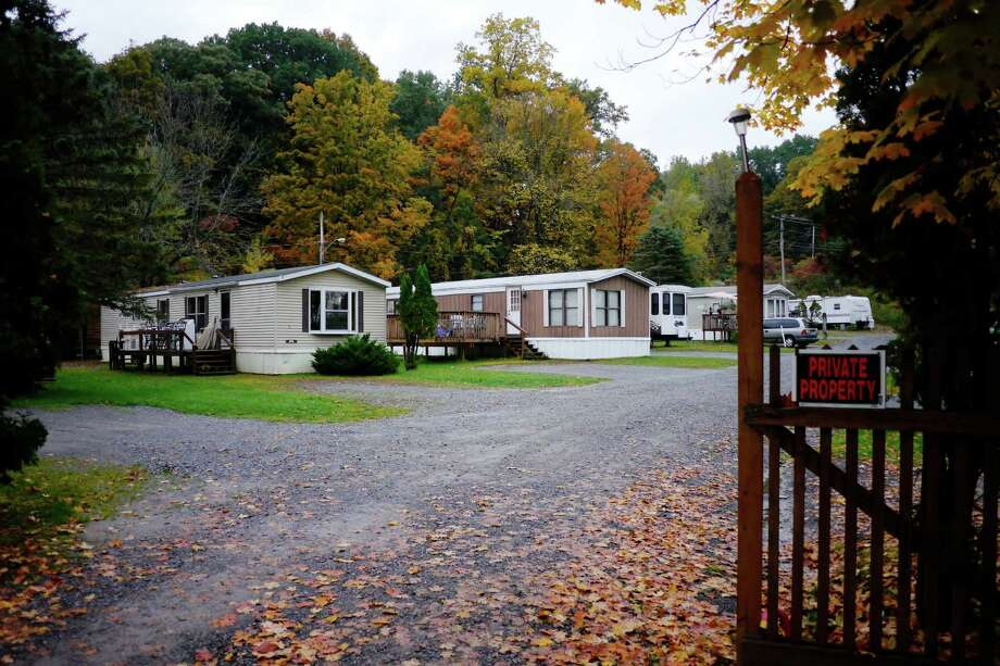 A view of the mobile home park on Sunday, Oct. 6, 2013, where John Ambrozak stabbed his mother to death inside their mobile home last week.  The park is located next to Bayshores Tropic Hut near Fish Creek.    (Paul Buckowski / Times Union) Photo: Paul Buckowski