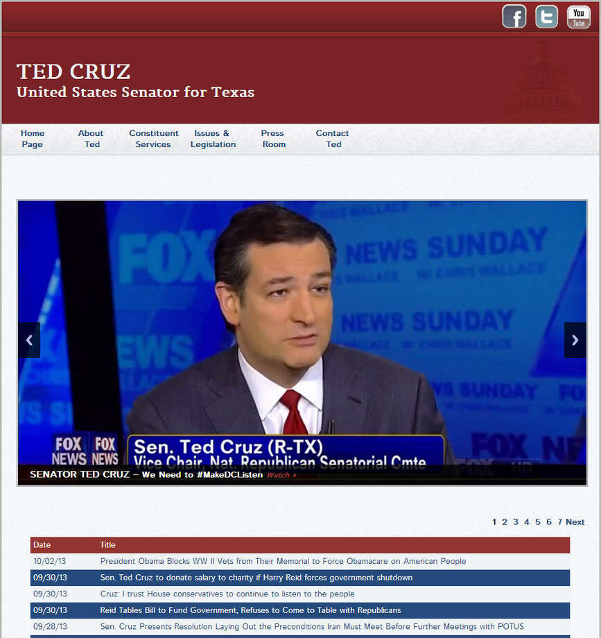 Republican Senator Ted Cruz may be the face of the federal shutdown, especially after his lengthy 21-hour Senate speech on the pitfalls of the Affordable Care Act or Obamacare. His website is still running as are other members of Congress.Related: Ted Cruz