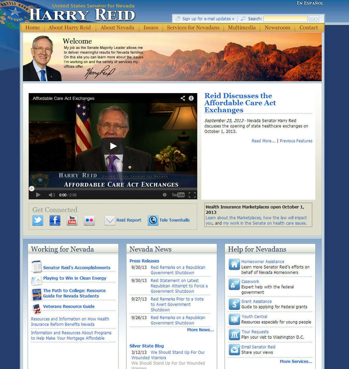 US Senator and Senate Majority Leader Harry Reid was one of the top Democratic figures involved in the shutdown fight. His website and the websites of other government officials remain online. Related: Harry Reid