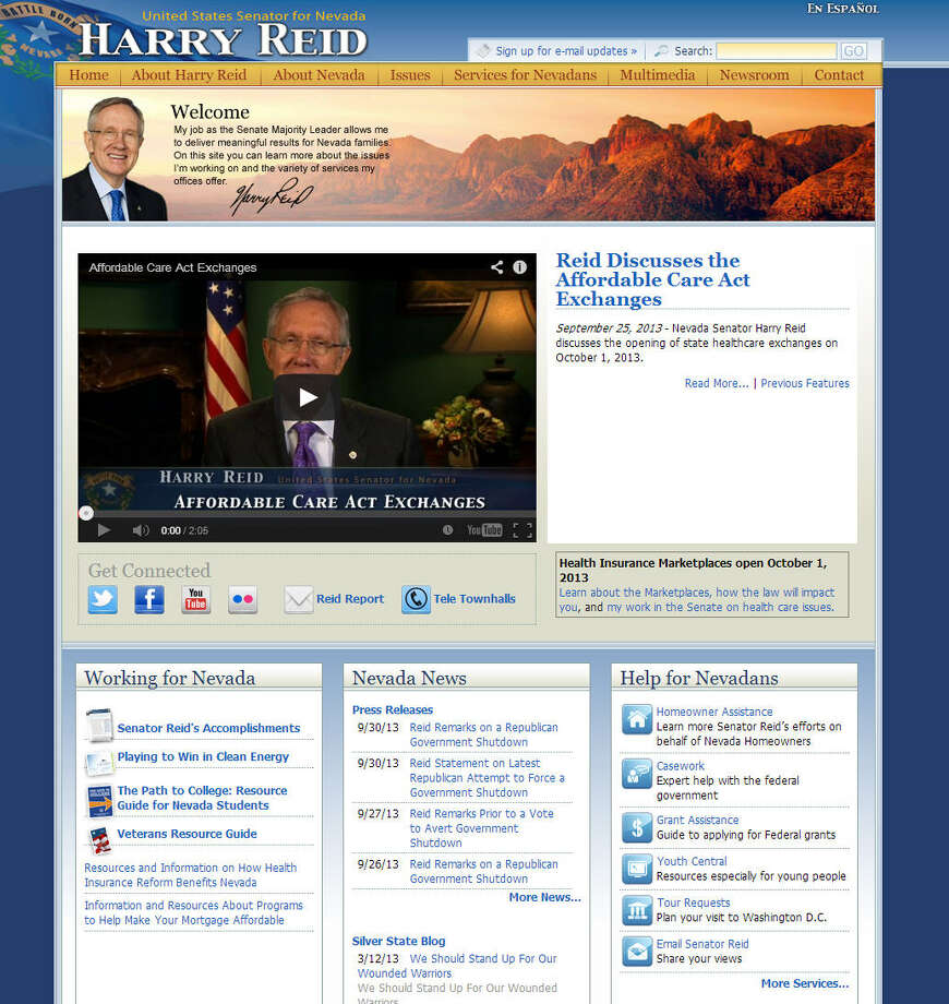 US Senator and Senate Majority Leader Harry Reid was one of the top Democratic figures involved in the shutdown fight. His website and the websites of other government officials remain online.Related: Harry Reid