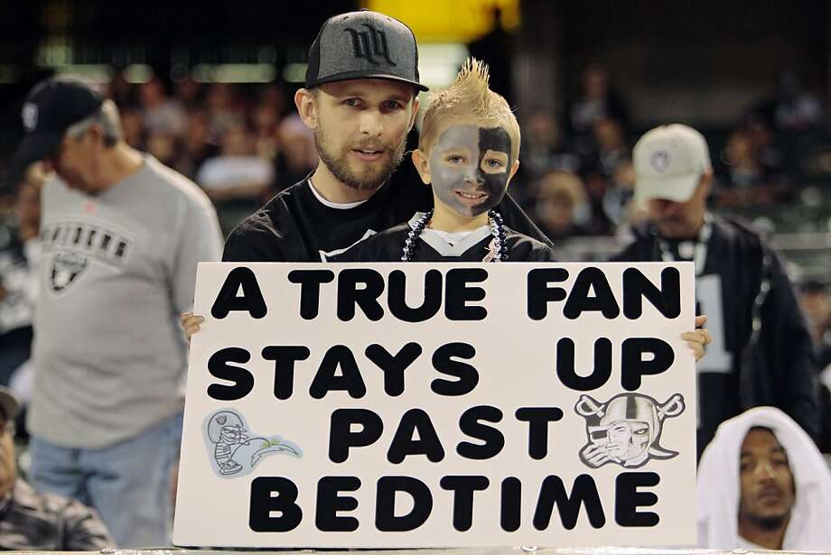 This young fan is just getting started. Let's see ... game at 8:35 p.m., leave Black Hole in time to catch 12:23 a.m. train, wash off face-paint and hair gel until 3 a.m., moisturize, bedtime snack, sleepy time, then up at 9:30 to gear up for the A's game. Right? Photo: Brian Bahr, Getty Images