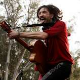 Eugene Hütz of Gogol Bordello is seen performing at the Hardly Strictly Bluegrass Festival in Golden Gate Park, in San Francisco, Ca, on Sunday, Oct. 6, 2013.
