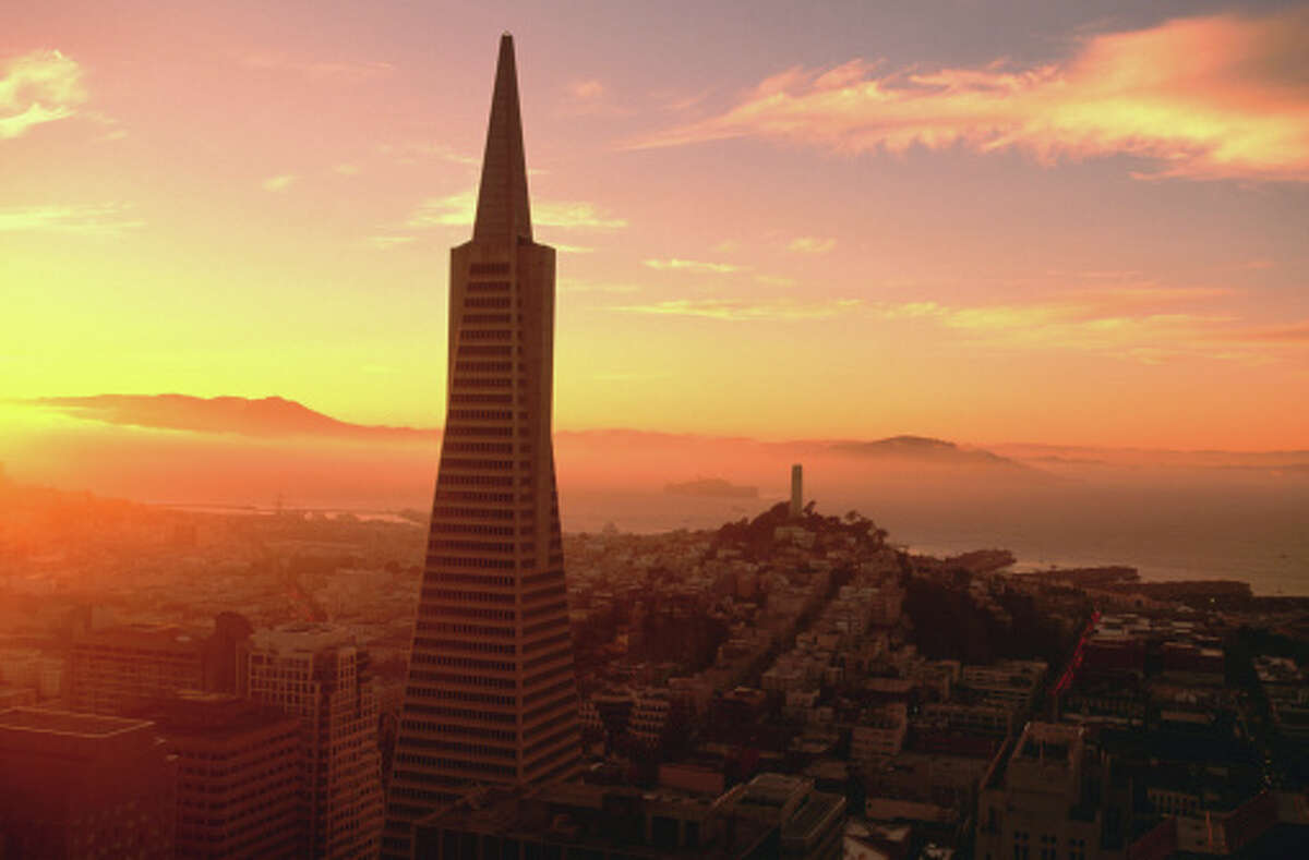 1. MANDARIN-ORIENTAL HOTEL.  A stunning view of the Transamerica Pyramid and Coit Tower can be seen from the sky bridges that connect the two towers at the Mandarin-Oriental Hotel.