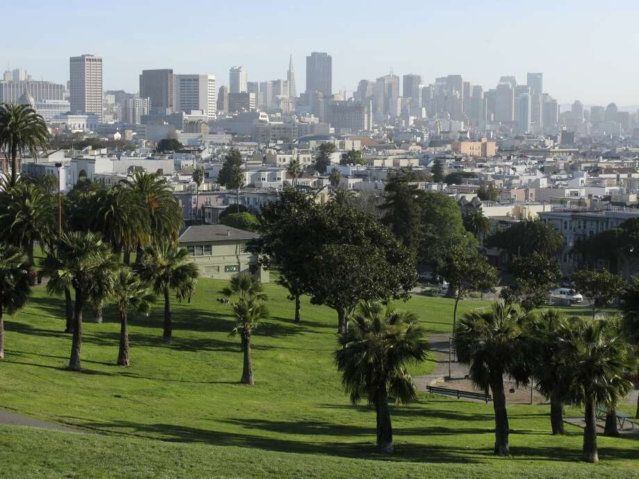 4. DOLORES PARK. The view Northeast over Dolores Park, toward city center, offers a great juxtaposition between lush greenery and the vibrant urban skyline. Photo: Wayne Hoy, Getty Images