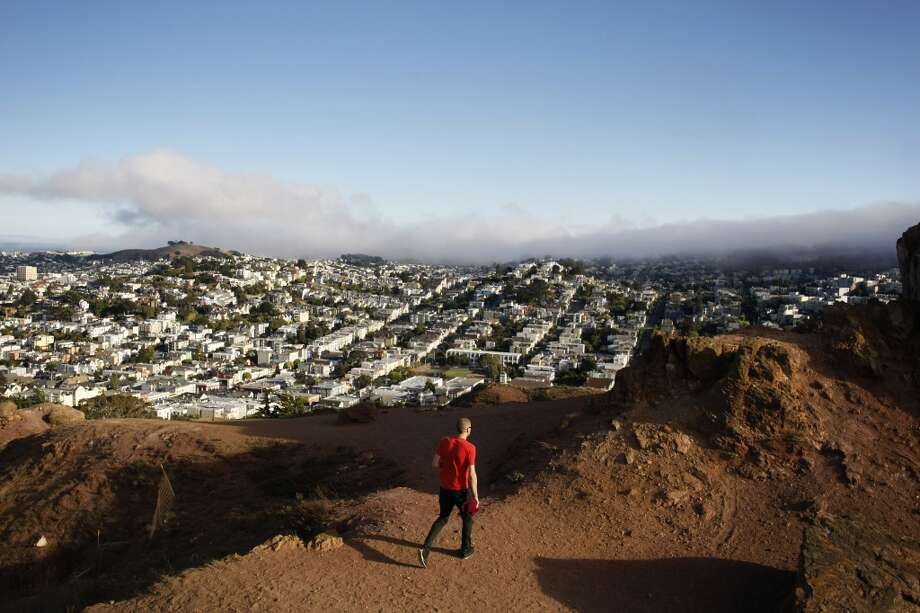 5. CORONA HEIGHTS PARK.  Perch atop the red chert crags at the peak of Corona Heights Park for stunning panoramic views of the city. Photo: Pete Kiehart, The Chronicle